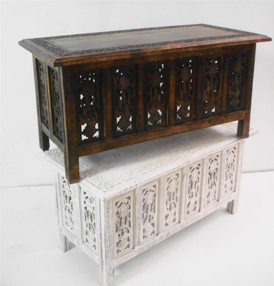 Coffee Table With Storage India: Beautiful Brown White Hand Carved Indian Wooden Coffee